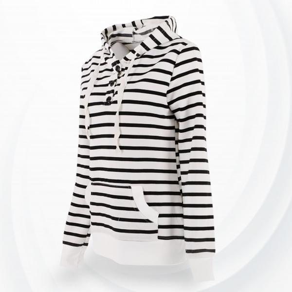 Striped String Printed Hoodie Jacket - White