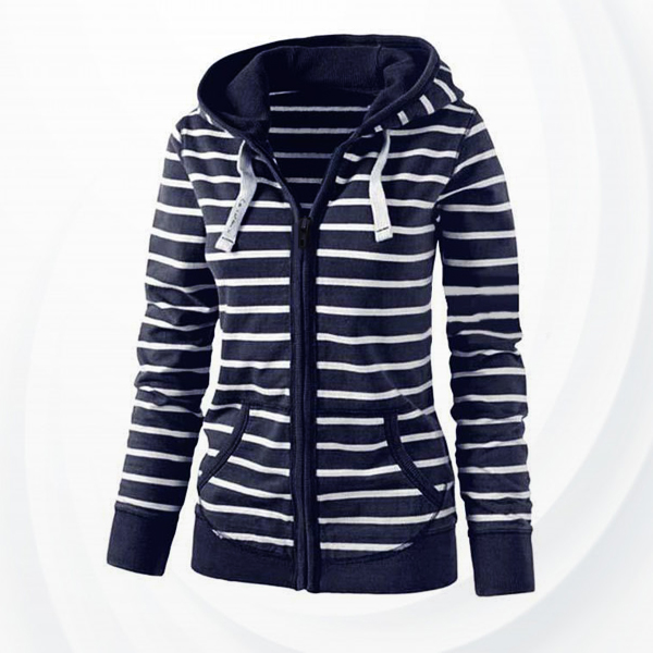 Striped String Printed Hoodie Jacket - Blue