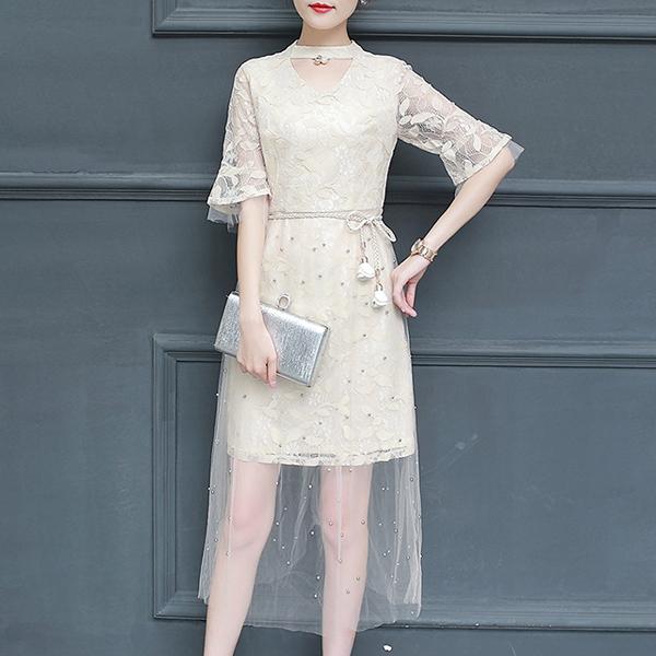 O Neck Floral Art Transparent Midi Dress - White