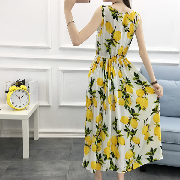 Sleeveless Beach Wear Lemon Printed Maxi Dress