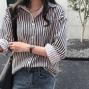 Button Up Striped Full Sleeves Shirt - Black