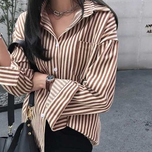 Button Up Striped Full Sleeves Shirt - Brown