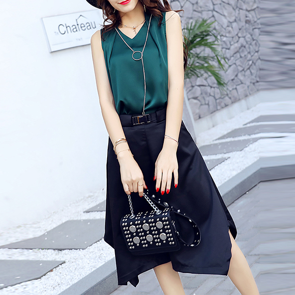 Irregular Two Pieces Sleeveless Female Suit - Green