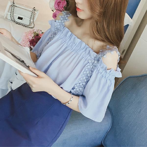 Cold Shoulder Lace Floral Summer Blouse Top - Blue