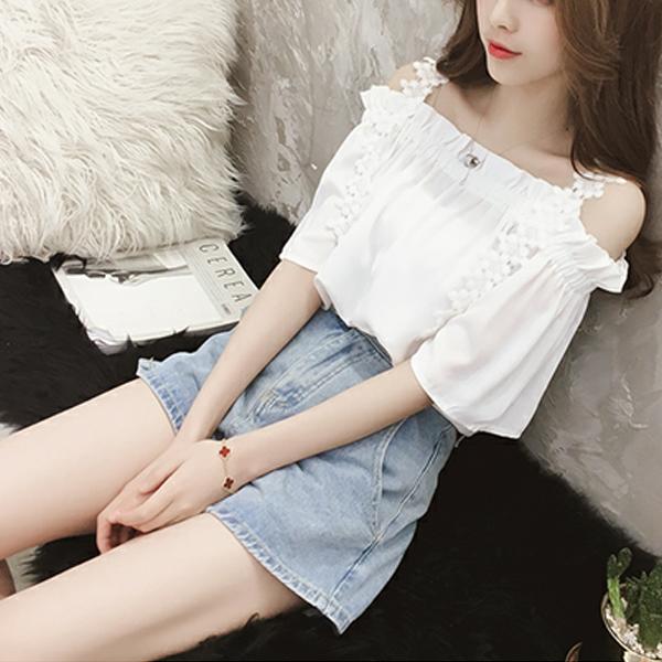 Cold Shoulder Lace Floral Summer Blouse Top - White