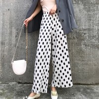 Polka Prints Straight Bottom Loose Trousers - White
