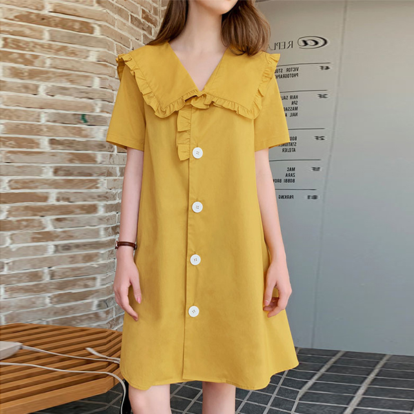Doll Collar Summer Solid Mini Dress - Yellow