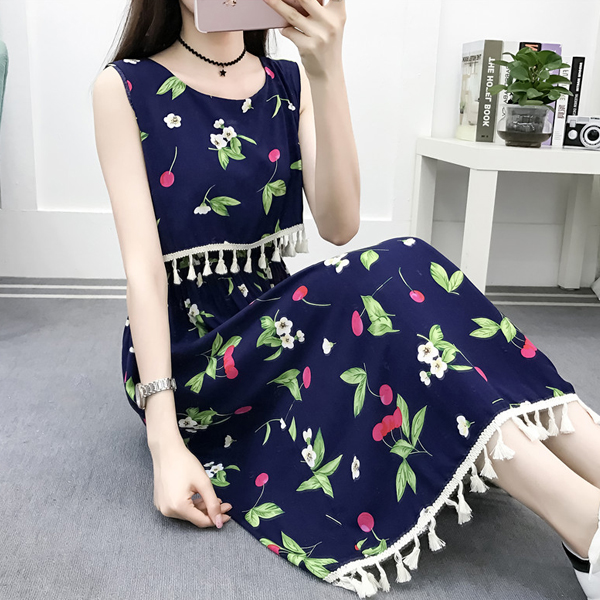 Flower Prints Tassel Style Summer Wear Dress