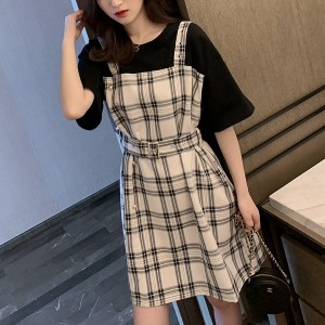 Fake Two Pieces Waist Belt Mini Casual Dress