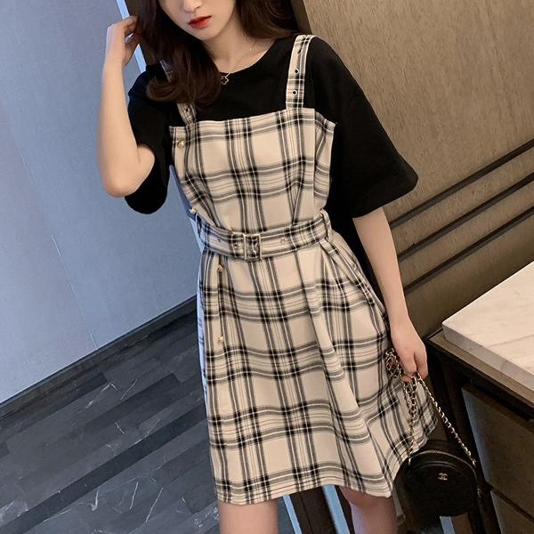 Fake Two Pieces Waist Belt Mini Casual Dress