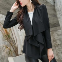 Long Sleeves Shawl Neckline Leather Jackets - Black