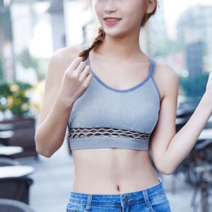 Plain Double Strap Casual Summer Bra - Grey