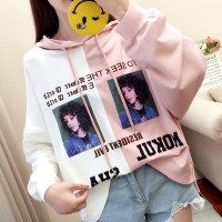 Lady Text Prints Hoodie Contrast Loose T-Shirt - Pink