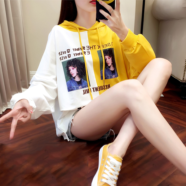 Lady Text Prints Hoodie Contrast Loose T-Shirt - Yellow