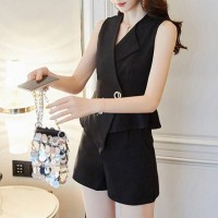 Two Piece V Neck Formal Summer Suit - Black