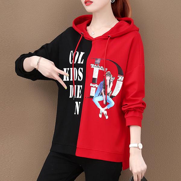 Cartoon Printed Winter Wearing Hooded Tops - Red