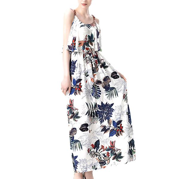 Long Sundress Boho Spaghetti Strap Beach Maxi Dress