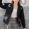 Loose Black Patch Denim Women Jacket - Black