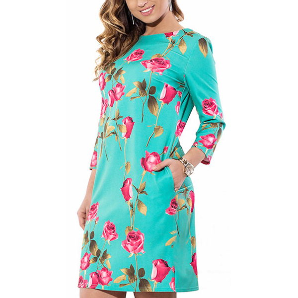 Rose Floral Printed Multicolor Mini Dress For Women