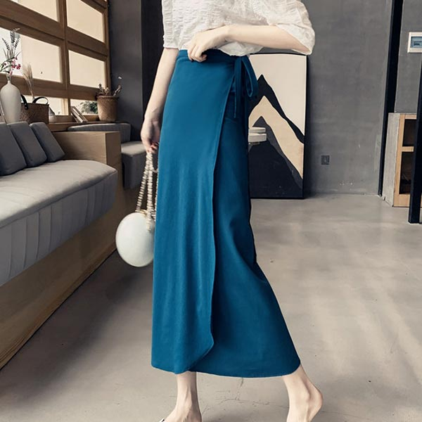 Bohemian Style String Solid Long Skirts - Blue