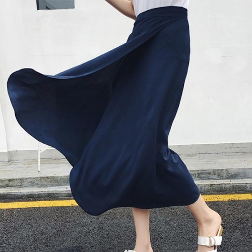 Bohemian Style String Solid Long Skirts - Dark Blue