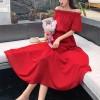 Off Shoulder Solid Chiffon Midi Dress - Red
