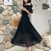 Off Shoulder Solid Chiffon Midi Dress - Black