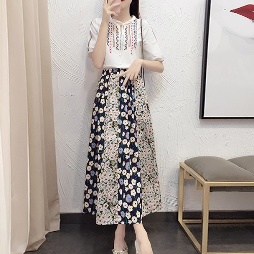 Bohemian Thread Art Two Pieces Top With Skirt