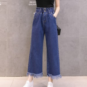 Tassel Bottom Straight Elastic Waist Casual Pants - Dark Blue