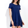 Scalloped Hem Mini Party Dress - Dark Blue