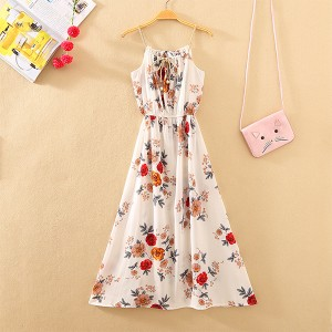 Floral Prints Summer Beach Wear Midi Dress - White Red