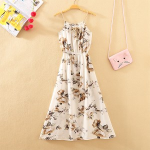 Floral Prints Summer Beach Wear Midi Dress - White