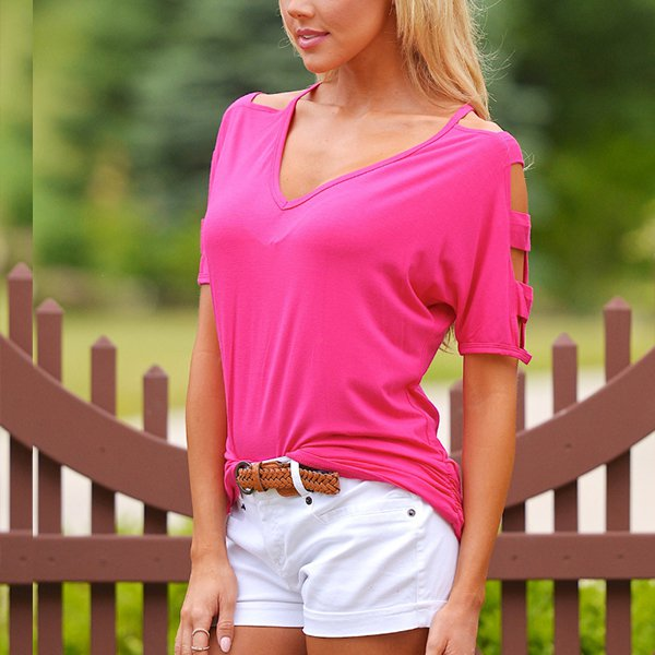 Cut Out Half Sleeves Halter Neck Pink Top