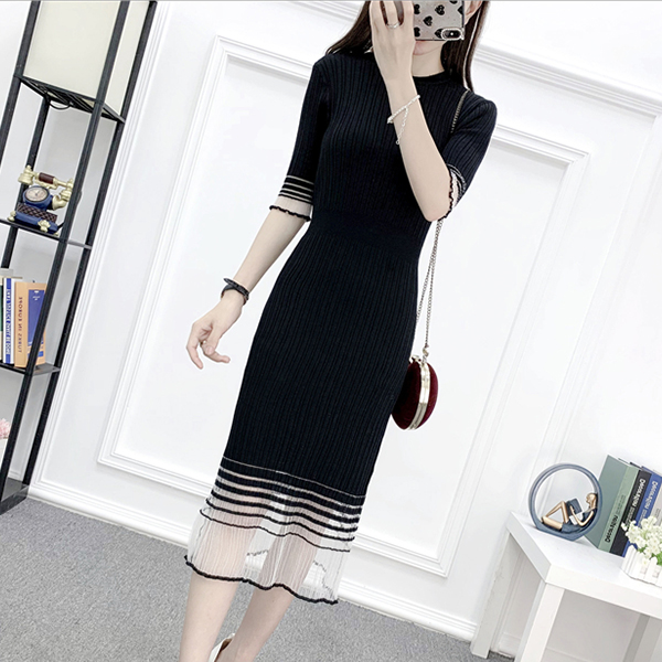 Ribbed Round Neck Summer Midi Dress - Black