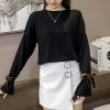 Split Sleeves O Neck Free Size T-Shirt - Black