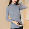 Frilled Round Neck Ribbed Full Sleeves T-Shirt - Grey