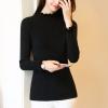 Frilled Round Neck Ribbed Full Sleeves T-Shirt - Black