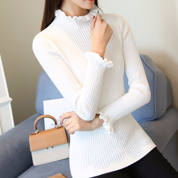 Frilled Round Neck Ribbed Full Sleeves T-Shirt - White