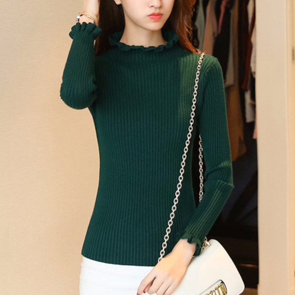 Frilled Round Neck Ribbed Full Sleeves T-Shirt - Green