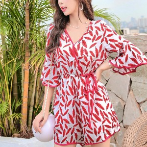 V Neck Flared Sleeves Romper Dress - Red