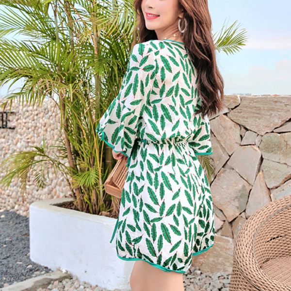 V Neck Flared Sleeves Romper Dress - Green