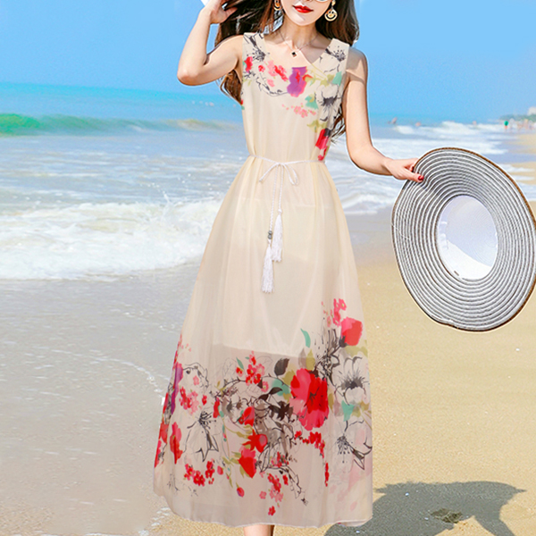 Floral Prints Tassel Waist Beach Summer Dress - White