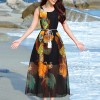 Bohemian Round Neck Loose Beach Maxi Dress - Black