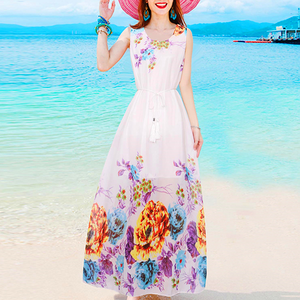 Chiffon Rose Contrast Maxi Length Beach Dress - Multicolor