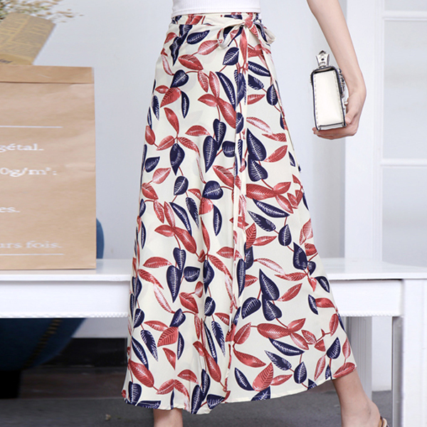 Leaves Print Full Length Pleated Skirt - Multicolor