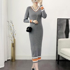 Stripes Border Body Fitted Winter Dress - Grey