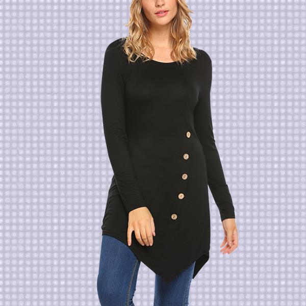 Round Neck Irregular Black Long T-Shirt