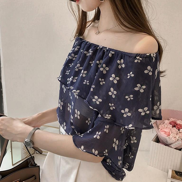 Flower Prints Flared Chiffon Summer Blouse - Blue