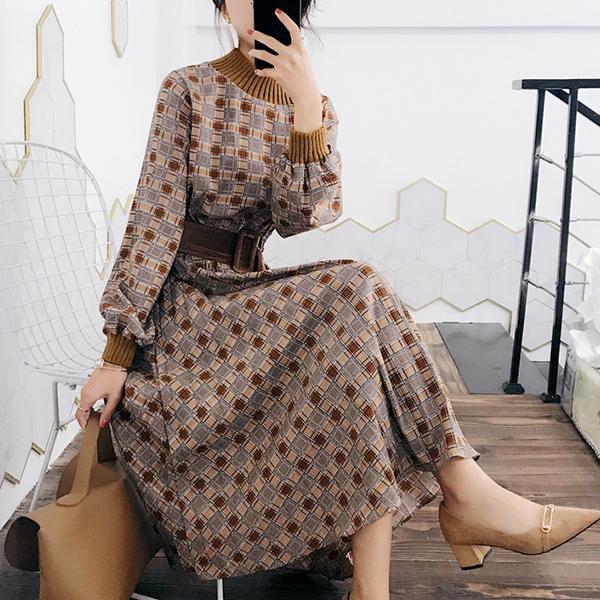 Check Prints Ribbed O Neck Fancy Wear Dress - Brown