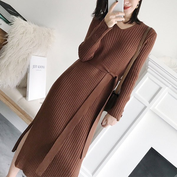 Ribbed Button Up V Neck Split Hem Long Dress - Brown